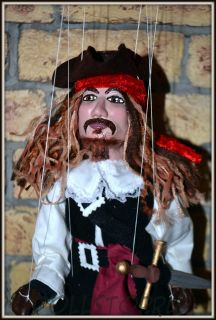 Чешская портретная кукла-марионетка Капитан Джек Воробей  -  Pirát (Чехия, Praha, Hand Made, авторы  Ивета и Павел Новотные)