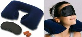 Подушка дорожная надувная, беруши, очки для сна 3 в 1