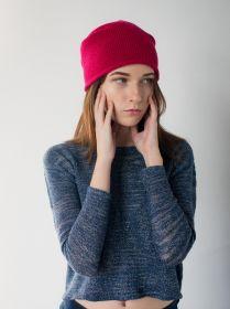 """Кашемировая мягкая классическая тонкая шапка-бини """"Джерси"""",брусничный цвет Jersey Hat Cranberry"""