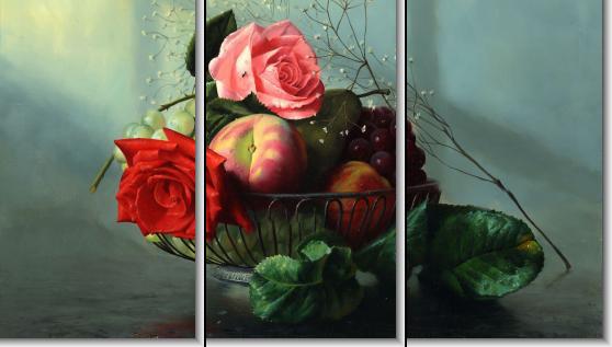 Модульная картина Ваза, фрукты и цветы