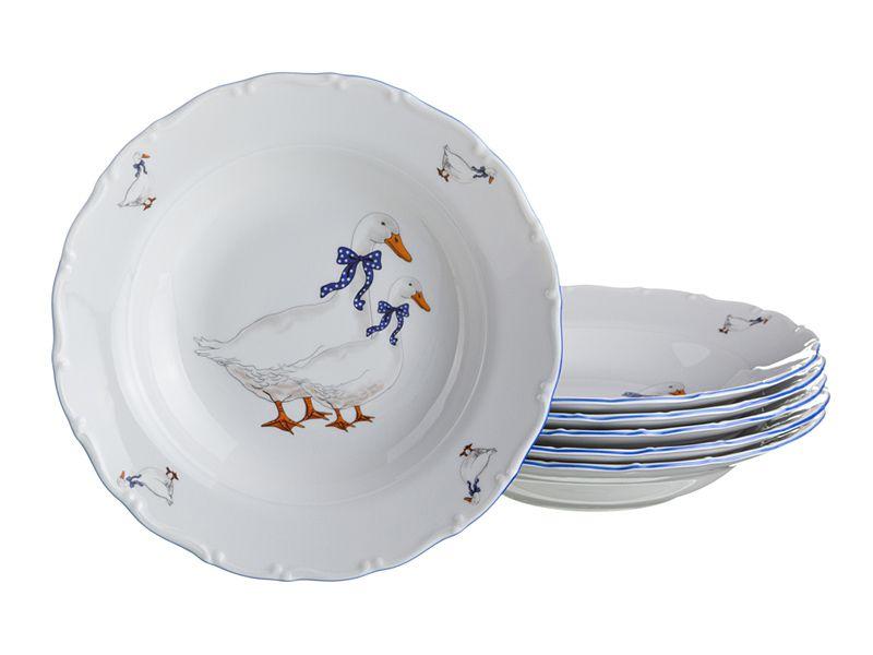 "Набор суповых тарелок ""Гуси"", 23 см, 6 шт."
