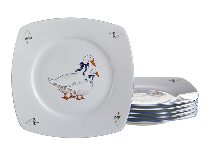 "Набор тарелок ""Тетра Гуси"", 19х19 см, 6 шт."