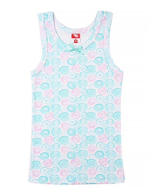 Майка для девочки с бирюзово-розовыми пуговками