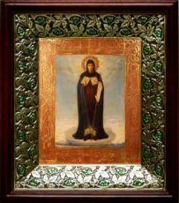 Афонская икона БМ (21х24), киот со стразами