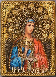 """Икона """"Ангел Хранитель"""" 11 х 15 см, роспись по дереву, серебрение, позолота"""