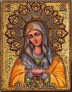 Икона Божьей Матери Умиление Серафимо-Дивеевская или Всех радостей Радость  18 х 23 см, роспись по дереву