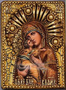 Икона Божьей Матери Владимирская 11 х 15 см, роспись по дереву