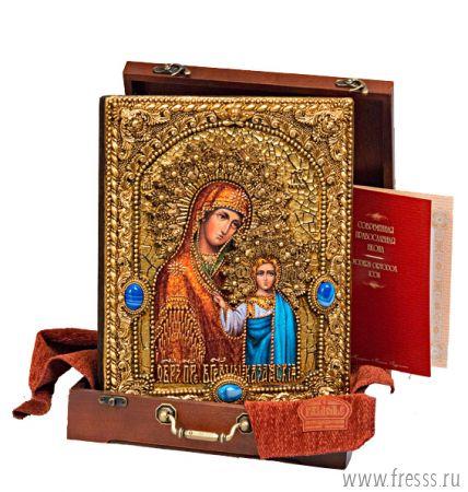 Икона Божьей Матери Казанская 25 х 32 см, роспись по дереву, позолота, самоцветы