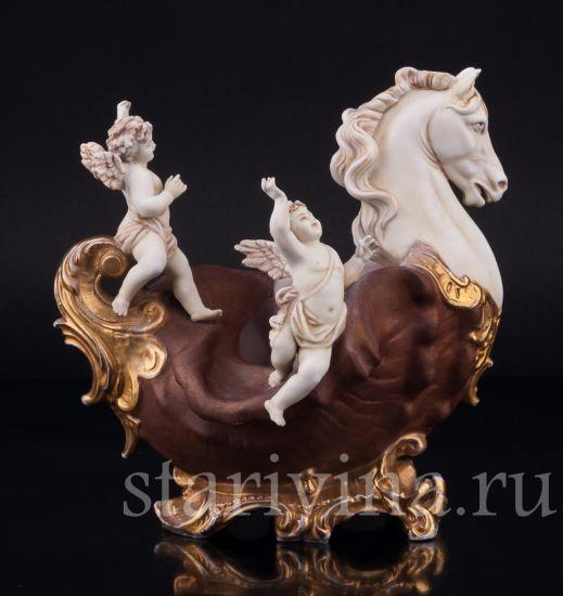Старинная антикварная фарфоровая статуэтка Ангелочки, декоративная ваза с головой коня производства E & A Muller, Германия