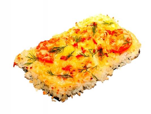 Суши пицца с креветками
