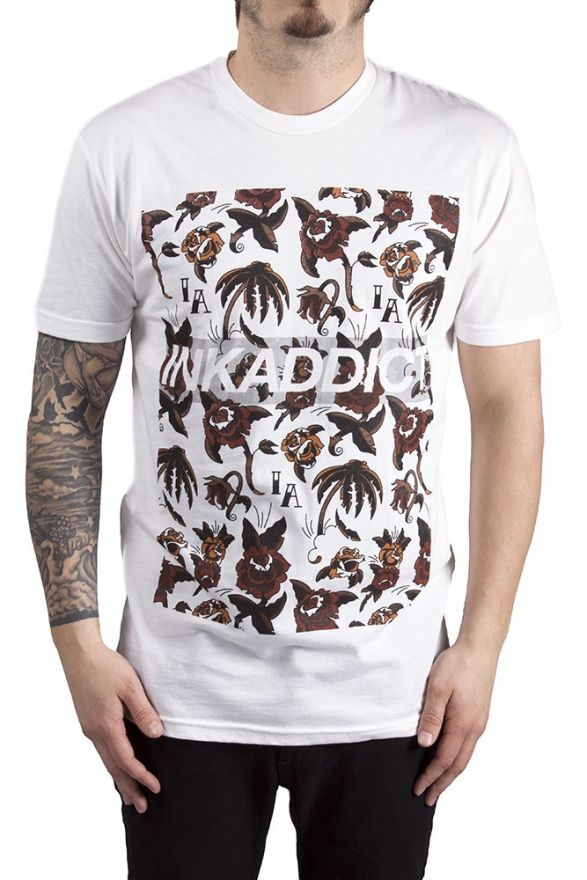 Ink Addict Dead Roses Men's White Tee