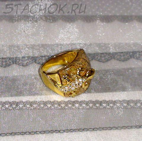 "Кольцо ""Саламандрочка"" под золото, свровски, яшм"