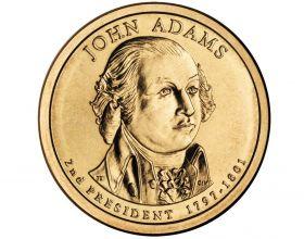 2-й президент США Джон Адамс (1797-1801) 1 доллар США 2007 Монетный двор Р