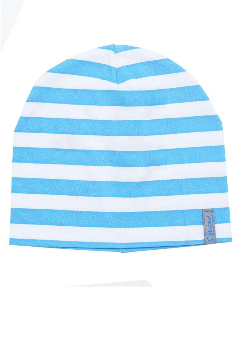 Шапка для мальчика в бело-голубую полоску