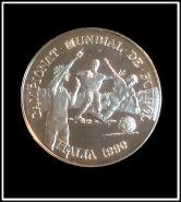 Андорра 10 динеров 1989 Футболисты, Чемпионат Мира в Италии 1990, серебро