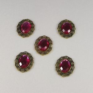 Кабошон со стразой, овал, цвет основы - медь, стразы - розовый, 29х24 мм (1уп = 10шт), Арт. КБС0157