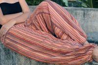 Индийские бежевые полосатые мужские штаны алладины, купить в Москве
