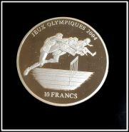 Конго 10 франков 2003 г. Бег с препятствиями Олимпиада Серебро Пруф Серебряная монета Спорт