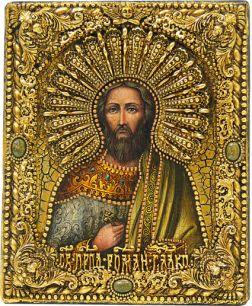 Икона именная Роман Сладкопевец 19 х 23 см, роспись по дереву, самоцветы