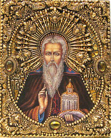 Икона именная Александр Константинопольский 19 х 23 см, роспись по дереву, самоцветы