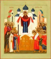Покров Пресвятой Богородицы икона Божией Матери (рукописная)