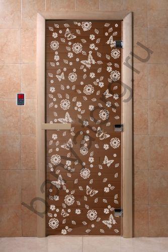Дверь для бани DoorWood Цветы и Бабочки Бронза