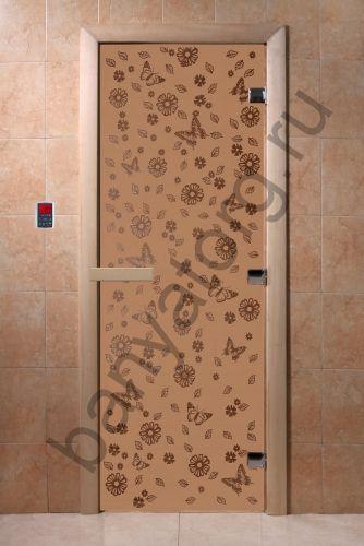 Дверь для бани DoorWood Цветы и Бабочки Бронза матовая