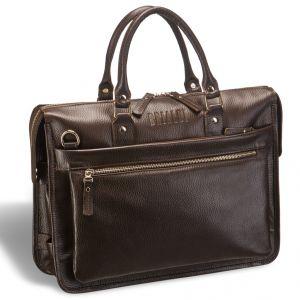 Классическая деловая сумка для документов Brialdi Pascal (Паскаль) relief brown