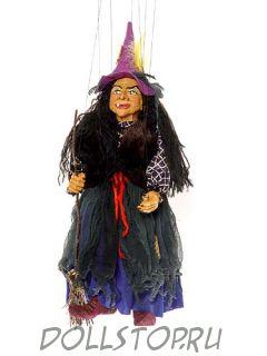 Чешская кукла-марионетка Баба-Яга - Ježibaba (Чехия, Praha, Hand Made, авторы  Ивета и Павел Новотные)