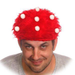 """Шляпка """"Мухоморчик"""" меховая, красная"""