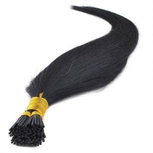 Натуральные волосы на кератиновой капсуле I-тип, №001B Черный - 55 см, 100 капсул.