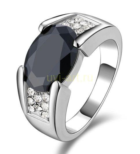 Позолоченное белым золотом кольцо с ониксом и бриллиантами (арт. 900536)