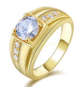 Стильное позолоченное кольцо с искусственными бриллиантами (арт. 900509)