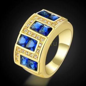 Позолоченное кольцо с сапфирами и цирконами (арт. 801122)