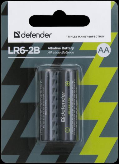Батарейка алкалиновая Defender LR6-2B (AA) (2 шт. на блистере)