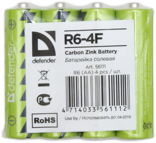 Батарейка солевая Defender R6-4F AA, в пленке 4 шт