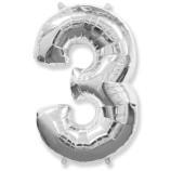 """Фигура """"3""""  (40""""/102 см) серебро"""