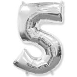 """Фигура """"5""""  (40""""/102 см) серебро"""
