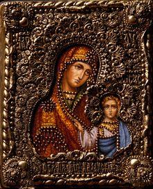Икона Божьей Матери Казанская 19 х 23 см, роспись по дереву