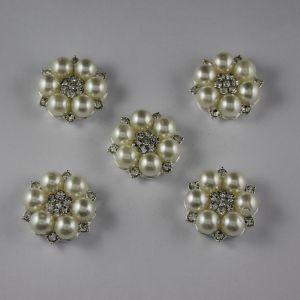 Кабошон со стразами, круглый, цвет основы: серебро, цвет стразы: белый, размер: 25мм (1уп = 10шт), Арт. КБС0159