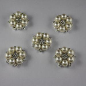 Кабошон со стразами, круглый, цвет основы: серебро, цвет стразы: белый, размер: 25мм (1уп = 10шт), Арт. КБС0161