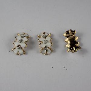 Кабошон со стразами, прямоугольный, дуга, цвет основы: золото, белый, цвет стразы: белый, размер: 24х14мм (1уп = 10шт)