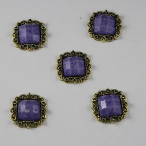 Кабошон со стразами, квадрат, цвет основы: медь, цвет стразы: мрамор, сиреневый, размер: 20мм (1уп = 10шт)