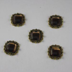 Кабошон со стразами, квадрат, цвет основы: медь, цвет стразы: коричневый, размер: 20мм (1уп = 10шт)
