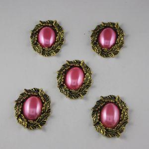 Кабошон со стразами, овал, листики, цвет основы: медь, цвет стразы: ярко-розовый, размер: 31х25мм (1уп = 10шт)