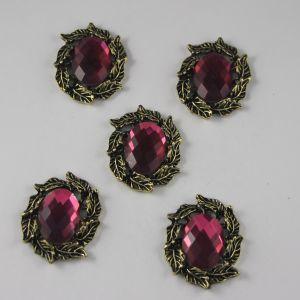 Кабошон со стразами, овал, листики, цвет основы: медь, цвет стразы: темно-розовый, размер: 31х25мм (1уп = 10шт)