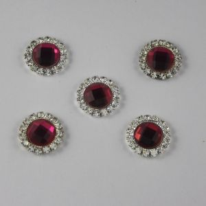 Кабошон со стразами, круглый, цвет основы: серебро, цвет стразы: ярко-розовый, размер: 16мм (1уп = 10шт)