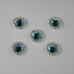 Кабошон со стразами, круглый, цвет основы: серебро, цвет стразы: голубой, размер: 16мм (1уп = 10шт)