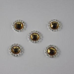 Кабошон со стразами, круглый, цвет основы: серебро, цвет стразы: желтый, размер: 16мм (1уп = 10шт)