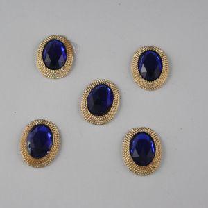 Кабошон со стразами, овал, цвет основы: золото, цвет стразы: синий, размер: 21х16мм (1уп = 10шт)
